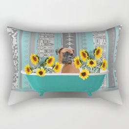 Turquoise Bathtub with Boxer dog and sunflowers Rectangular Pillow