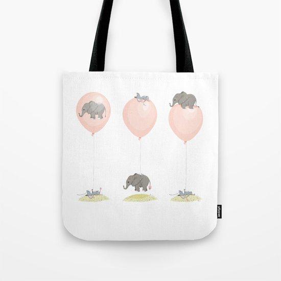 Elephant, globe and mouse Tote Bag