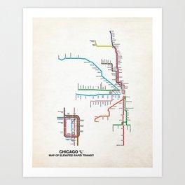 Chicago Transit Map Art Print