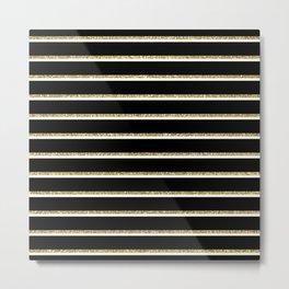 Black Gold White Stripe Pattern 2 Metal Print