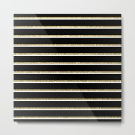 Black Gold White Stripe Pattern 2 Metal Print