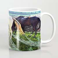 horses Mugs featuring horses by  Agostino Lo Coco
