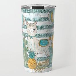 Cute Llama & Succulent Teal Glitter Stripe Pattern Travel Mug