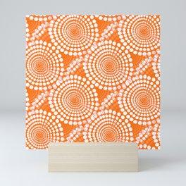 White Dots on Orange Background Retro Mood #decor #society6 #buyart Mini Art Print
