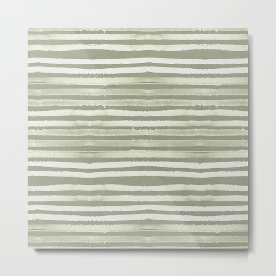 Simply Shibori Stripes Green Tea and Lunar Gray Metal Print