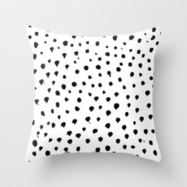 Dalmatian dots black Throw Pillow