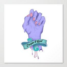 Creepin it Real  | Zombie Hand Illustration Canvas Print