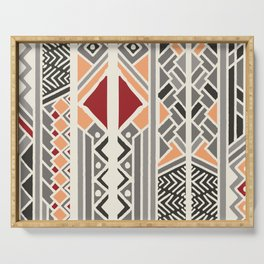 Tribal ethnic geometric pattern 034 Serving Tray