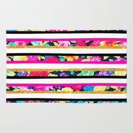 Neon floral pattern pink gold glitter stripes Rug