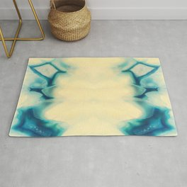 Sapphire Blue Agate Geode Crystal Gem stone Marble Pattern Rug