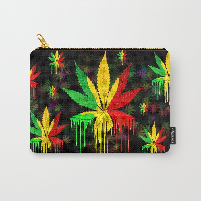 Marijuana Leaf Rasta Colors Dripping Paint Carry-All Pouch