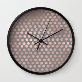 Simple Hand Painted Rosegold polkadots on grey background Wall Clock