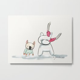 George the Frenchie and his Snow Sculpture Metal Print