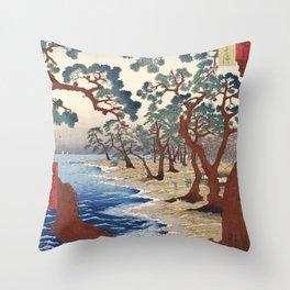 The Maiko beach in Harima province by Utagawa Hiroshige, 1853 Throw Pillow
