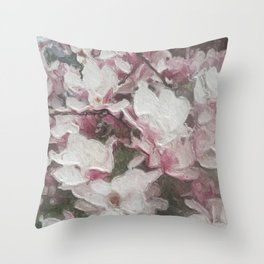 Magnolia Blooms in the Rain Throw Pillow