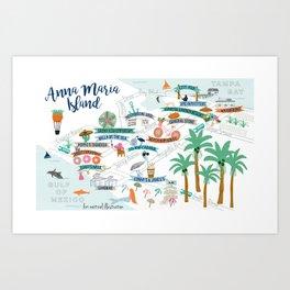 Anna Maria Island Map Art Print