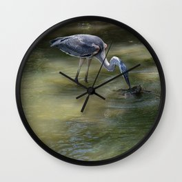 Great Blue Heron Catching Huge Frog - I Wall Clock