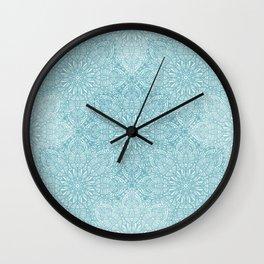Lace pastel blue pattern Wall Clock