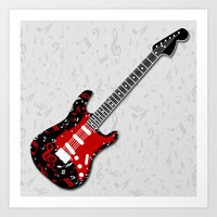 music notes Art Prints featuring Music Notes Electric Guitar by GBC Design