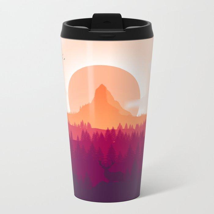 Can You See Deer In THe Art Metal Travel Mug