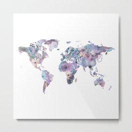 Watercolor Floral Map Metal Print
