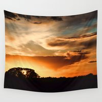 swedish Wall Tapestries featuring Swedish sunset by Mark W