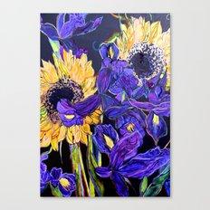 Sunflower & Iris Canvas Print