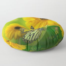 Majestic Beautiful Sun Flowers And Butterfly Ultra HD Floor Pillow