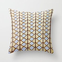 "Dream of Architecture Pattern ""Sydney Opera"" Gold and Silver Throw Pillow"
