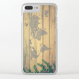 Metallic Foil Map on Oak Clear iPhone Case