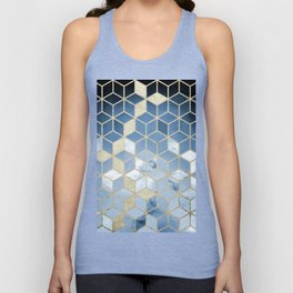 Shades Of Blue Cubes Pattern Unisex Tank Top