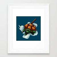 ninja turtle Framed Art Prints featuring Baby Ninja Turtle - PixelArt by Tokka Train