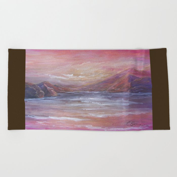 Landscape in Pink MM150601 Beach Towel