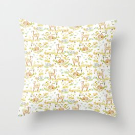autumn rabbit and fawn Throw Pillow