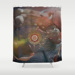 """Durga Maya Leela"" Shower Curtain"
