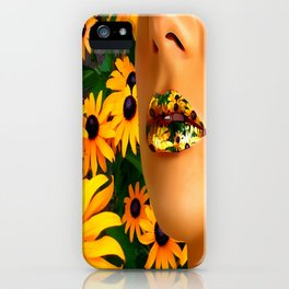 Lips in sunflowers iPhone Case