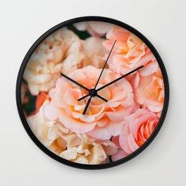 Light Pink Roses Wall Clock