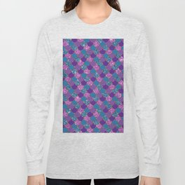 Pink Purple Blue Mermaid Scales Glitter Colorful Long Sleeve T-shirt