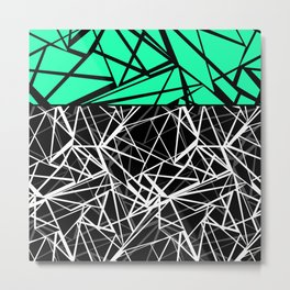 Black and white abstract geometric pattern with green insert . Metal Print