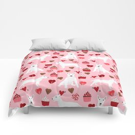 Bull Terrier white valentines day cupcakes hearts dog breed pet friendly dog gifts bull terriers Comforters