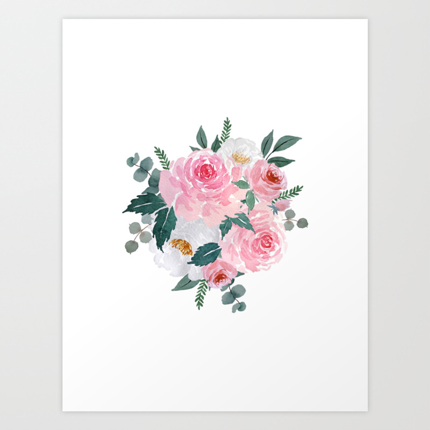 Watercolor Floral Bouquet N 1 Art Print By Psychae Society6