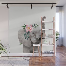 Baby Elephant with Flower Crown Wall Mural