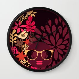 Afro Diva : Sophisticated Lady Deep Pink & Burgundy Wall Clock