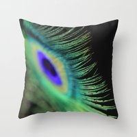 peacock feather Throw Pillows featuring Peacock feather by Falko Follert Art-FF77