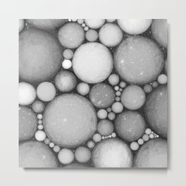 OBLIVIOUS SPHERES IN SPACE BLACK AND WHITE Metal Print