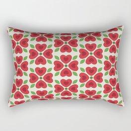 Christmas Heart Flowers Rectangular Pillow