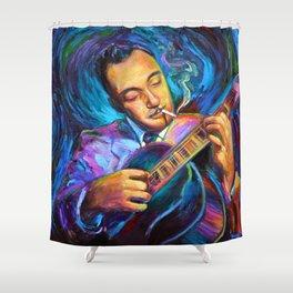 Gypsy Jazz Guitarist Django Reinhardt by Robert Phelps Shower Curtain