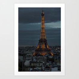 La Tour Eiffel / Nuit Art Print