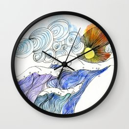Ocean Waves Watercolor Wall Clock