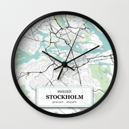 Stockholm Sweden City Map with GPS Coordinates Wall Clock